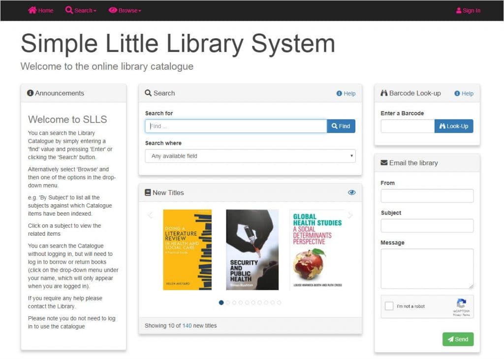 Simple Little Library System for health libraries - OPAC
