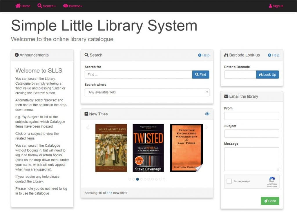 OPAC image of library management software for law firms